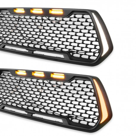 2016-2019 TOYOTA TACOMA MESH INSERT GRILLE WITH 3 AMBER LED LIGHTS AND SIDE SWITCHBACK LIGHTS AMBER WHITE