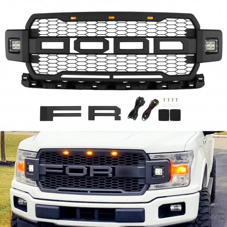 Ford F150 raptor style grille 2018--2019  with led lights amber and led pod lights