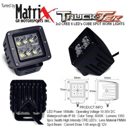 "2x2"" CREE 6 LED Cube Spot Work Lights"