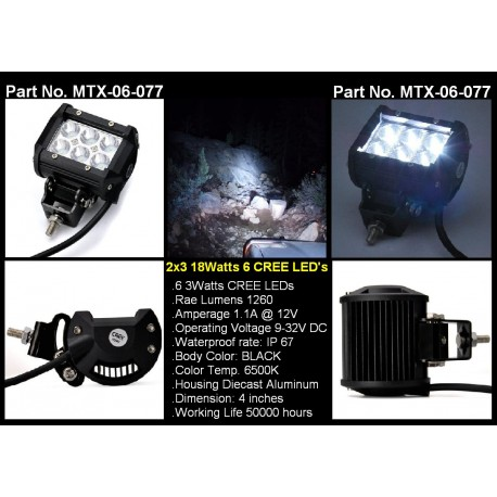 "2x3"" CREE 6 LED Square Spot Work Lights"