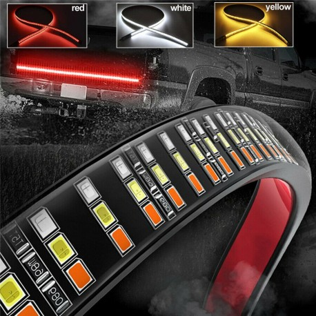 """Led 60"""" 3RD BRAKE LIGHTS TRIPLE ROW TAILGATE LIGHT WITH REVERSE WHITE AND AMBER TURN SIGNALS"""