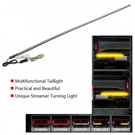 "UNIVERSAL 60"" LED TRIPLE ROW TAILLIGHT LIGHT BAR REVERSE WHITE AND RED AND AMBER TURN SIGNALS"