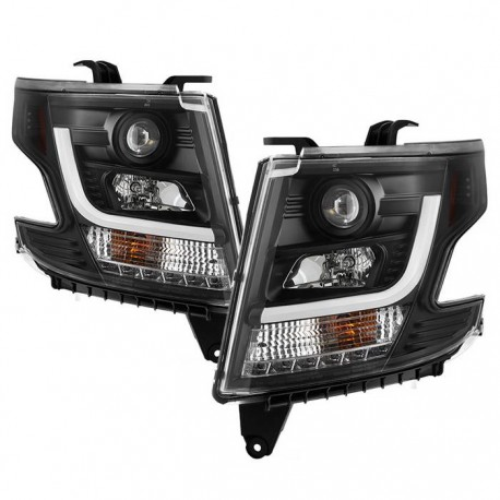 2015-2019 chevy tahoe suburban c bar halo projector headlights black housing