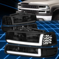 1999-2002 CHEVY SILVERADO TAHOE BLACK SMOKE  HEADLIGHTS C BAR LED COMBO
