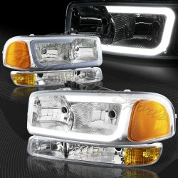 1999-2006 GMC SIERRA C BAR HALO CHROME AMBER  HOUSING HEADLIGHTS