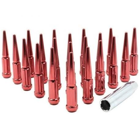 Red metal Spike lug nuts 20pc kit w key 12x1.5