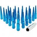 SPIKE METAL LUG NUTS 14x1.5MM BLUE 24PCS WITH KEY