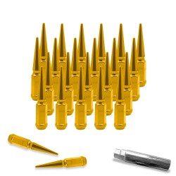 SPIKE METAL LUG NUTS 14X1.5MM 24PCS GOLD W KEY