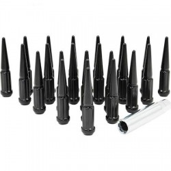 SPIKE METAL LUG NUTS 14x1.5mm BLACK 24 PCS WITH KEY