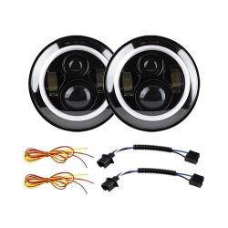 "7"" universal black halo headlight projector pair 60 watts"