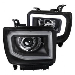 2014-2015 GMC SIERRA 1500/2500 HEADLIGHT C BAR PROJECTORS BLACK CLEAR SWITCHBACK HALO