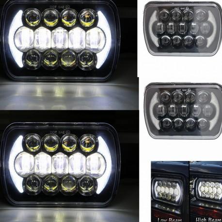 7x6/5x7 led black housing headlights with drl 105 watts pair