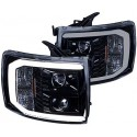 2007-2013 CHEVY SILVERADO BLACK WITH halo LED STRIP HEADLIGHTS