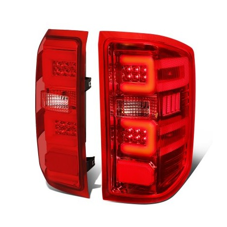 2014-2018 chevy silverado 1500/2500 led taillights red clear c bar