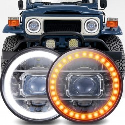"""LED 7"""" AMBER WHITE PROJECTOR HEADLIGHTS HIGH LOW PAIR CHROME HOUSING"""