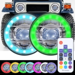 """Led 7"""" RGB multicolor with remote headlights high low beam chrome housing"""