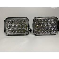 7x6 5x7 oem style led headlights high low beam h4 plug glass pair