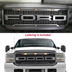 2005-2007 FORD F250/350 BLACK GRILLE WITH AMBER DRL REPLACEMENT