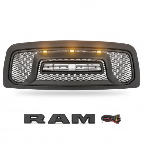 2009-2012 dodge ram 1500 replacement rebel style grille with led lights