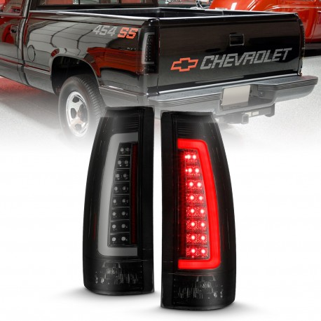 1988-1999 CHEVY C1500 LED C BAR TAILLIGHTS BLACK SMOKE TAHOE SUBURBAN