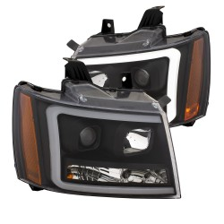 CHEVY TAHOE AVALANCHE BLACK C BAR DRL HEADLIGHTS PROJECTORS 2007-2013 AMBER WHITE