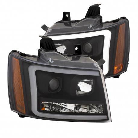 CHEVY TAHOE AVALANCHE BLACK C BAR DRL HEADLIGHTS PROJECTORS 2007-2013