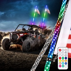 LED RGB MULTICOLOR  WHIP ANTENNA  PAIR 4FT WITH REMOTE