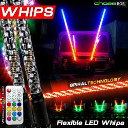 LED RGB MULTICOLOR  WHIP ANTENNA  PAIR 5FT WITH REMOTE
