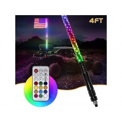 LED RGB 4FT WHIP ANTENNA MULTICOLOR WITH REMOTE AND QUICK RELEASE