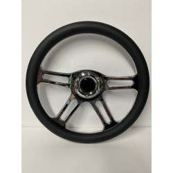 UNIVEERSAL 6 HOLE STEERING WHEEL BLACK LEATHER STYLE WITH CHROME 4 SPOKE CENTER