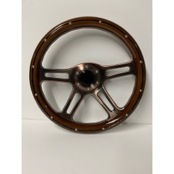 UNIVERSAL 6 HOLE STEERING WHEEL WOOD STYLE WITH BRONZE BRUSHED 4 SPOKE