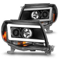 2005-2011 TOYOTA TACOMA C BAR HALO PROJECTORS BLACK HEADLIGHTS