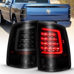 2009-2018 dodge ram 1500/2500 version 2 black smoke   c bar taillights
