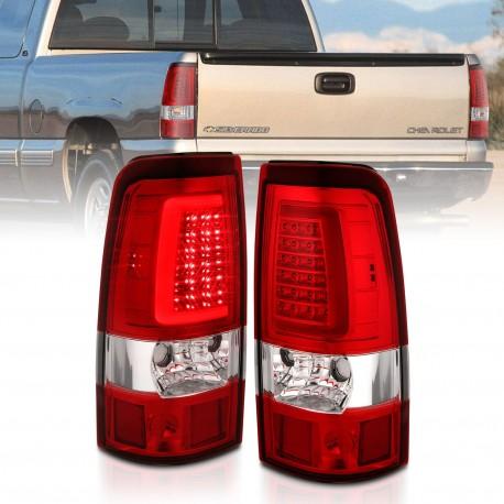 2003-2006 CHEVY SILVERADO C BAR LED RED CLEAR TAILLIGHTS 1500/2500/GMC SIERRA