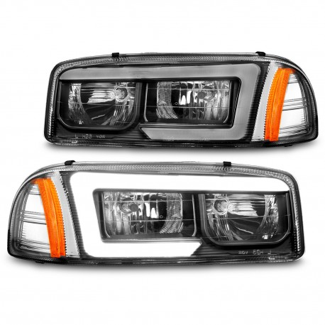 1999-2006 GMC SIERRA YUKON C BAR HALO BLACK HOUSING HEADLIGHTS