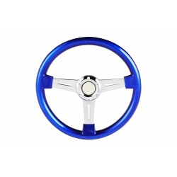 Abs blue universal chrome 3 spoke steering wheel  6 hole