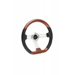 UNIVERSAL STEERING WHEEL D SHAPE 350MM WOOD ABS COVER 6 HOLE