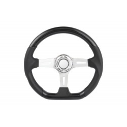 universal D shape steering wheel black with leather style 6 hole steering wheel chrome center
