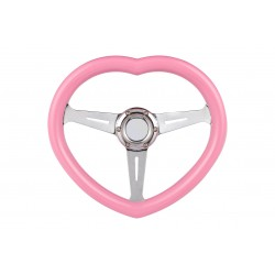 UNIVERSAL PINK HEART STEERING WHEELS 6 HOLE WITH CHROME CENTER