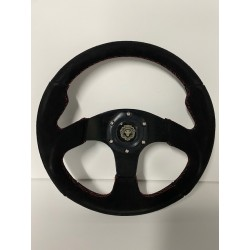 UNIVERSAL STEERING WHEELS BLACK SUEDE WITH RED STITCHING