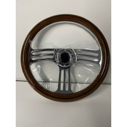 UNIVERSAL 6 HOLE WOOD STEERING WHEEL WITH 3 SPOKE CHROME CENTER