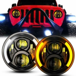 """Gen 2 Black Housing Jeep 7"""" High/Low Headlamps 30 Watts /75 With White Amber Fits Hummer FJ Cruiser"""