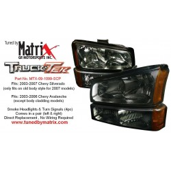 Smoke/Amber  Headlight  2003-2006 Chevy Silverado/Avalanche  Combo W Parking Lights
