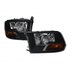 Diamond Black Housing  Headlamps 2009-12 Dodge Ram