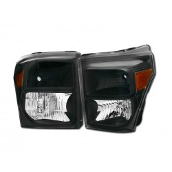 Diamond Black Amber Headlamps 2011-2015 Ford F250 / 350 Super Duty Set
