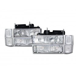 Chrome Diamond Headlamps 1994 - 1998 Chevy Tahoe Sub 8pc Combo Kit with Parking Lights