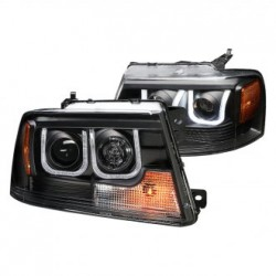 Ford F150 2004-2008 Black U Bar Halo Projector Headlights