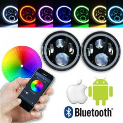 "Led 7"" Round Rgb multicolor Bluetooth  Android i phone Head lights"