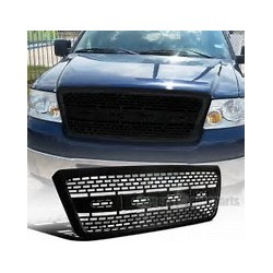 2004-2008 Ford F 150 Glossy Black Raptor Style Square Mesh Grille Replacement