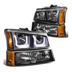 Chevy Silverado 2003-2006 1500 2500 3500 U Bar Halo Black Headlights combo with parking lights